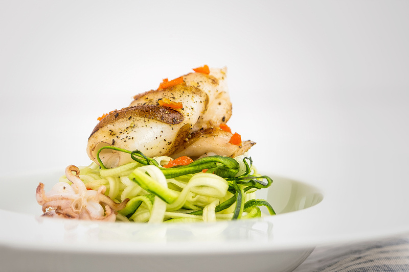 Chargrilled Squid with Spiralized Vegetables by bokeh photographic (Alistair Grant) Food & Drink Photography.