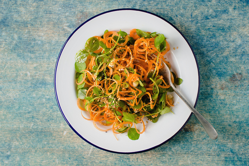 Freelance Photographer Cambridge Blog Image | Blog 09 | CE Marked (Plate of Spiralised Carrot & Pea Shoots with Asian Dressing). © bokeh photographic (Alistair Grant): Freelance Photographer; Food & Drink Photographer; Commercial Photographer, Product Photographer & Packshot Photographer; Event Photographer; Portrait Photographer; Corporate Photographer & PR Photographer; Engagement Photographer & Wedding Photographer and Photography Training Courses, St Ives, Cambridge.