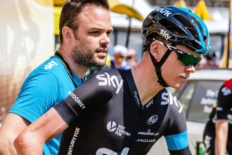 Freelance Photographer Cambridge Blog Image | Blog 27 | Best & Worst (Chris Froome and Team Sky Technician at beginning of Stage 3 of 2014 Tour de France Cambridge). © bokeh photographic (Alistair Grant): Freelance Photographer; Food & Drink Photographer; Commercial Photographer, Product Photographer & Packshot Photographer; Event Photographer; Portrait Photographer; Corporate Photographer & PR Photographer; Engagement Photographer & Wedding Photographer and Photography Training Courses, St Ives, Cambridge.