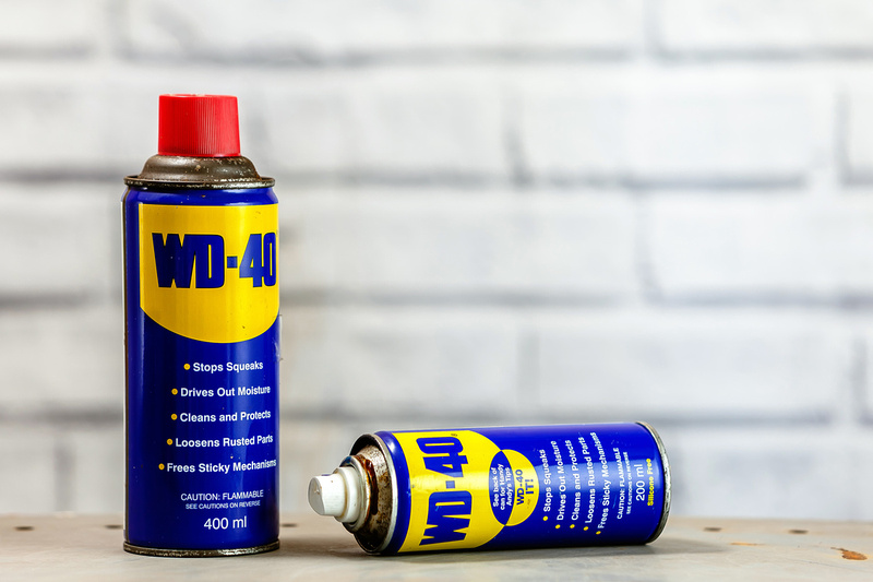 Freelance Photographer Cambridge Blog Image | Blog 28 | Be Prepared (Two cans of WD40 that are not used in order to give food products a sheen but which nevertheless as a useful addition to the bokeh photographic kit bag). © bokeh photographic (Alistair Grant): Freelance Photographer; Food & Drink Photographer; Commercial Photographer, Product Photographer & Packshot Photographer; Event Photographer; Portrait Photographer; Corporate Photographer & PR Photographer; Engagement Photographer & Wedding Photographer and Photography Training Courses, St Ives, Cambridge.