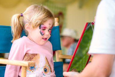 2017 Aldeburgh Food & Drink Festival: East of England Coop Face Painting. © bokeh photographic (Alistair Grant): Freelance Photographer Cambridge.