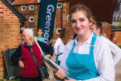 2017 Aldeburgh Food & Drink Festival: Festival Welcome Staff. © bokeh photographic (Alistair Grant): Freelance Photographer Cambridge.