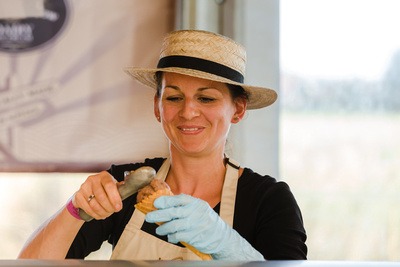 2016 Aldeburgh Food & Drink Festival: Katherine Manning of Suffolk Meadow Ice Cream. © bokeh photographic (Alistair Grant): Freelance Photographer Cambridge.