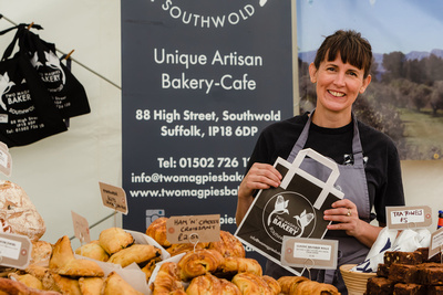 2016 Aldeburgh Food & Drink Festival: Rebecca Bishop of Two Magpies Bakery Southwold. © bokeh photographic (Alistair Grant): Freelance Photographer Cambridge.