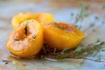 Food Photography Portfolio – Roasted Nectarines with fresh herbs. © bokeh photographic (Alistair Grant): Food Photographer, St Ives, Cambridge.