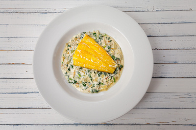 Food Photography Portfolio – Plate of smoked haddock on a vegetable gratin. © bokeh photographic (Alistair Grant): Food Photographer, St Ives, Cambridge.