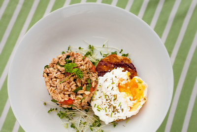 Food Photography Portfolio – Overhead shot of dish of Poached Egg with Spelt. © bokeh photographic (Alistair Grant): Food Photographer, St Ives, Cambridge.