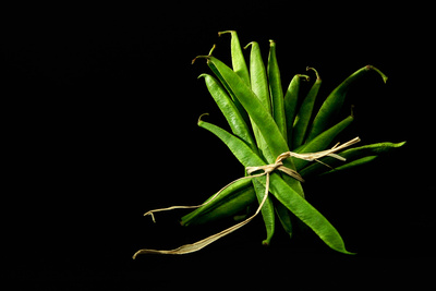 Food Photography Portfolio – Tied Runner Beans. © bokeh photographic (Alistair Grant): Food Photographer, St Ives, Cambridge.