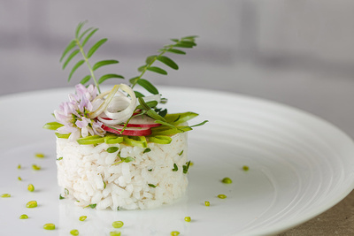 Food & Drink Photography Image of Spring Risotto Starter. © bokeh photographic (Alistair Grant): Food Photographer and Food & Drink Photographer in Cambridgeshire, Bedfordshire, Northamptonshire, Norfolk, Suffolk, Essex & Hertfordshire | Spring Risotto Starter.