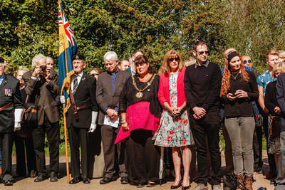 Event Photography Image: The Godmanchester Stirling Memorial Stone Dedication Ceremony Cow Lane Saturday 9th September 2017 in memory of the crew of Short Stirling Mk1 N3703 which crashed 11th April 1942 after being unable to land at RAF Alconbury following publication of Stirling to Essen:  A Bomber Command Story of Courage and Tragedy by Roger Leivers  (#11: Dignitaries and guests). © bokeh photographic (Alistair Grant): Freelance Photographer, St Ives, Cambridge.