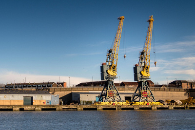 Commercial Photography and Product Photography Image of Dock Cranes. © bokeh photographic (Alistair Grant): Commercial Photographer and Product Photographer in Cambridgeshire, Bedfordshire, Northamptonshire, Norfolk, Suffolk, Essex & Hertfordshire.