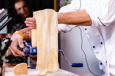 Food & Drink Photography Image: Making Fresh Pasta. © bokeh photographic (Alistair Grant): Food & Drink Photographer in Cambridgeshire, Bedfordshire, Northamptonshire, Norfolk, Suffolk, Essex & Hertfordshire.