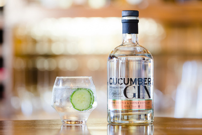 Food Photography Image of Qcumber Cucumber Gin. © bokeh photographic (Alistair Grant): Food Photographer in Cambridgeshire, Bedfordshire, Northamptonshire, Norfolk, Suffolk, Essex, Hertfordshire and across the UK.