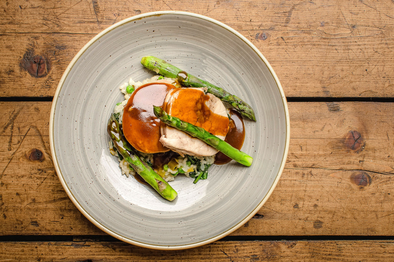 Freelance Photographer Cambridge Blog Image | Blog 26 - Chicken with sausage meat stuffing, leek & pea risotto and asparagus © bokeh photographic (Alistair Grant): Freelance Photographer, St Ives, Cambridge, London and across the UK.