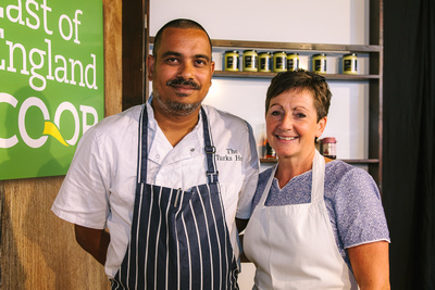 2017 Aldeburgh Food & Drink Festival: Chandramauli Dwivedi and Emma Crowhurst. © bokeh photographic (Alistair Grant): Freelance Photographer Cambridge.