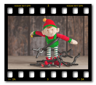 Not #ElfOnTheShelf but #sELFie in the #Photography #Studio. DAY 16: Clips & Ties.  A bit of festive fun illustrating some of the photographic equipment I use to shoot Food Photography, Portrait Photography, Event Photography, Corporate Photography & Product Photography. © bokeh photographic (Alistair Grant): Freelance Photographer, St Ives, Cambridge and across the UK.